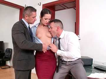 Sexy secretary Angie Moon does double blowjob in the office