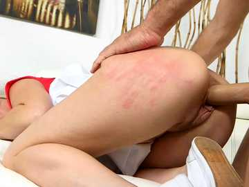 Ideal blonde Kristina Reese gets her big ass slapped raw and pussy pounded from behind