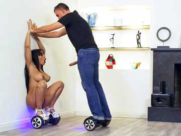 Girl with round hips and big breasts Luna Star has sex on hoverboard