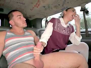 Becky Sins: good girl gone bad in the Bang Bus amateur handjob episode