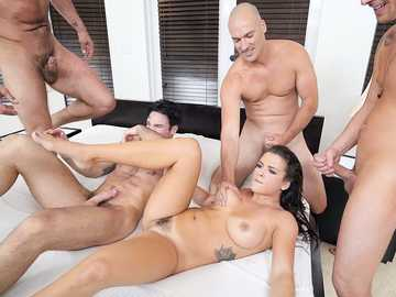Nice girl with hairy pussy Keisha Grey gets her share of incredible fucking from several males