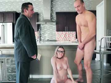 18-year old babe Aubrey Sinclair pays homage to Sean Lawless's long cock