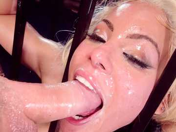 Luna Star covered in oil, fucked in the ass, caged and glazed through bars